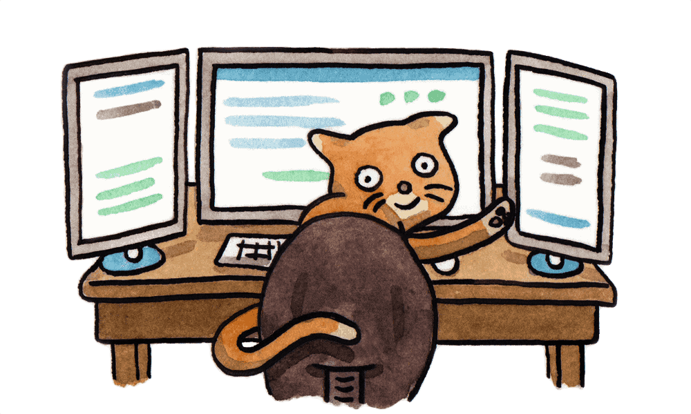 Watercolour of cat waving from seat behind computer screens