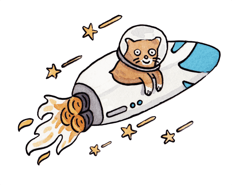 Watercolour of cat riding a rocketship